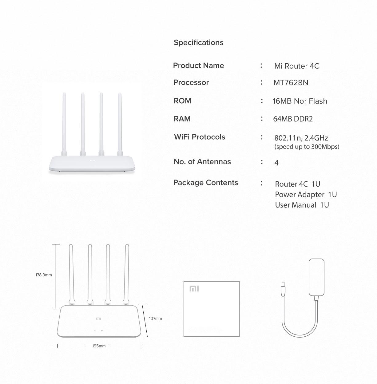 وای فای روتر شیائومی مدل Mi Router 4C Mi Router 4C