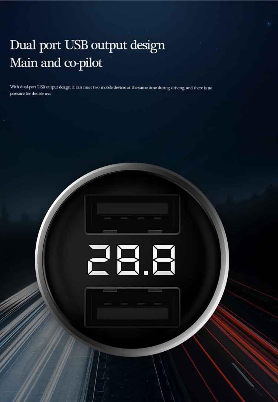 شارژر فندکی شیائومی دارای دو پورت و نمایشگر ولت متر (مدل ZMI AP621)